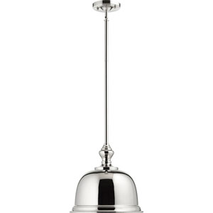 Polished Nickel One-Light 15-Inch Pendant