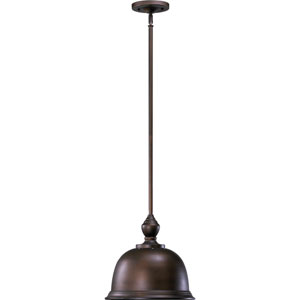 One-Light Oiled Bronze with Antique Gold Pendant