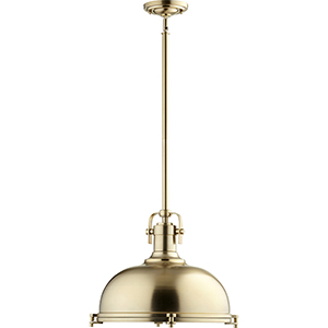 Aged Brass One-Light 16.5-Inch Pendant