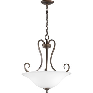 Celesta Oiled Bronze with Satin Opal Glass Three-Light Pendant