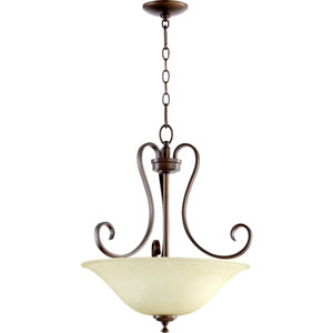 Celesta Oiled Bronze Three Light Pendant with Amber Scavo Glass
