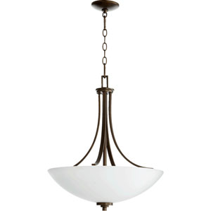 Reyes Oiled Bronze 24-Inch Four Light Pendant with Satin Opal Glass