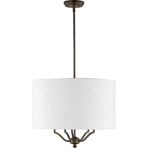 Atwood Oiled Bronze with White Linen Shade Five-Light Pendant