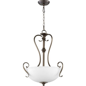 Powell Oiled Bronze with Satin Opal Glass Three-Light Pendant