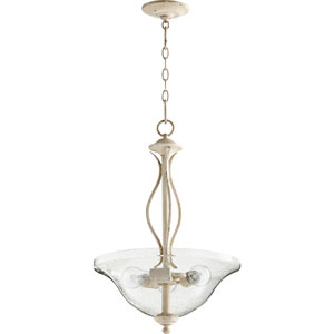 Spencer Persian White with Clear Seeded Glass Three-Light Pendant