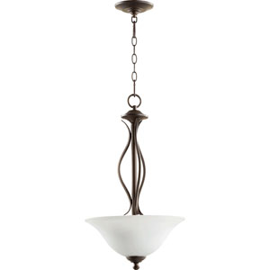 Spencer Oiled Bronze with Satin Opal Glass Three-Light Pendant