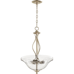 Spencer Aged Silver Leaf with Clear Seeded Glass Three-Light Pendant