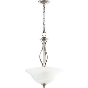 Spencer Classic Nickel Three Light Pendant with Faux Alabaster Glass