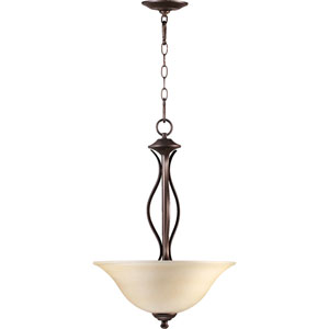 Spencer Oiled Bronze Three-Light Pendant with Amber Scavo Glass