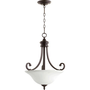 Bryant Oiled Bronze with Satin Opal Glass 18-Inch Three-Light Pendant