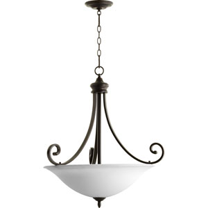 Bryant Oiled Bronze with Satin Opal Glass Four-Light Pendant