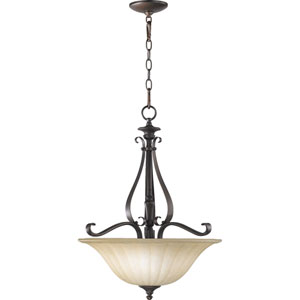 Randolph Three-Light Oiled Bronze with Antique Gold Pendant