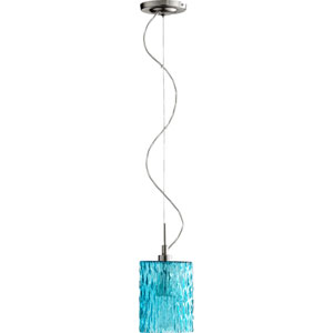 Satin Nickel and Aqua One Light Mini Pendant