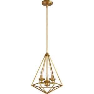 Bennett Aged Brass Three-Light Pendant