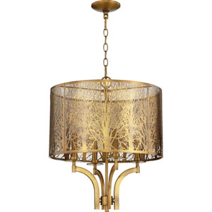 Aged Brass Four-Light Pendant
