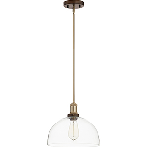 Aged Brass with Oiled Bronze One-Light 11.75-Inch Pendant