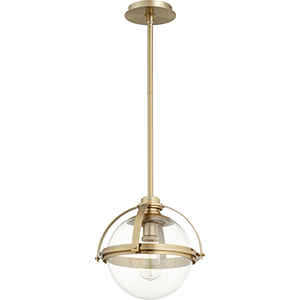 Aged Brass One-Light 12.5-Inch Pendant