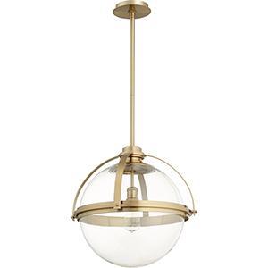 Aged Brass One-Light 19.5-Inch Pendant