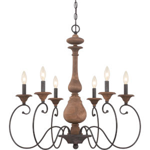 Auburn Rustic Black Six-Light Chandelier