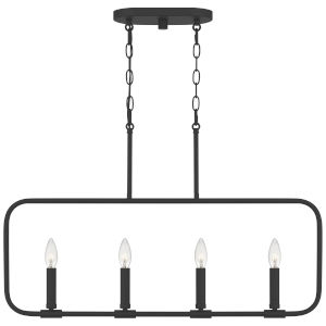 Abner Matte Black Four-Light Chandelier
