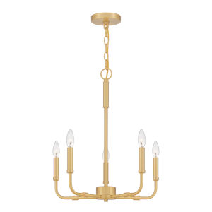 Abner Aged Brass 18-Inch Five-Light Chandelier