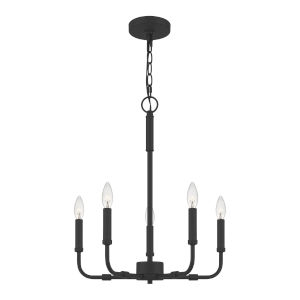 Abner Matte Black 18-Inch Five-Light Chandelier