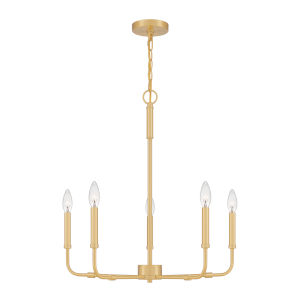 Abner Aged Brass Five-Light Chandelier
