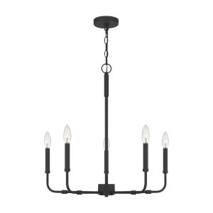 Abner Matte Black Five-Light Chandelier