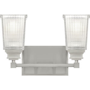 Abbott Brushed Nickel Two-Light Bath Vanity with Transparent Prismatic Glass and Etched Inside
