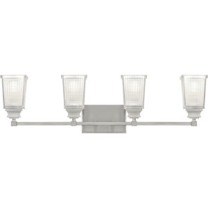 Abbott Brushed Nickel Four-Light Bath Vanity with Transparent Prismatic Glass and Etched Inside