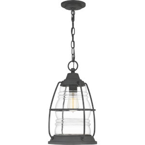 Admiral Mottled Black 10-Inch One-Light Outdoor Hanging Lantern with Clear Glass