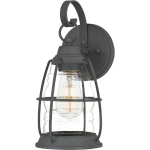 Admiral Mottled Black 12-Inch One-Light Outdoor Lantern with Clear Glass