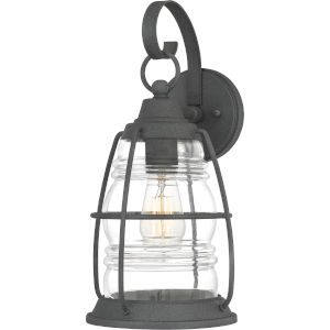 Admiral Mottled Black 16-Inch One-Light Outdoor Lantern with Clear Glass