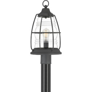 Admiral Mottled Black One-Light Outdoor Post Lantern with Transparent Glass