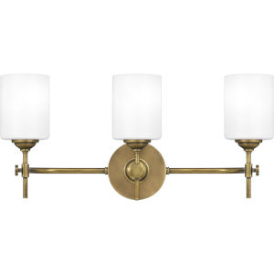 Aria Weathered Brass Three-Light Bath Vanity with Opal Glass