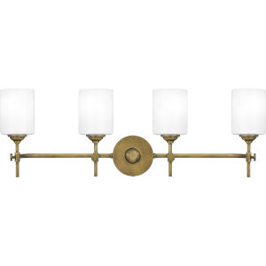 Aria Weathered Brass Four-Light Bath Vanity with Opal Glass