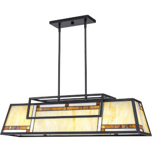 Atwater Matte Black Four-Light Island Chandelier with Tiffany Glass