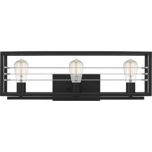 Awendaw Matte Black Three-Light Bath Vanity