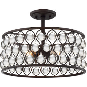 Alexandria Palladian Bronze Three-Light Semi-Flush Mount