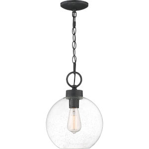 Barre Grey Ash 10-Inch One-Light Outdoor Hanging Lantern with Clear Seedy Glass