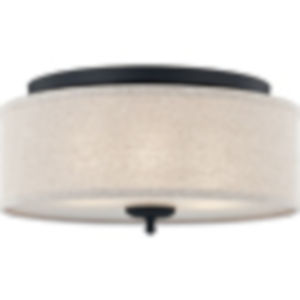 Blanche Matte Black Three-Light Flush Mount