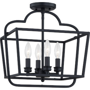 Blanche Matte Black Four-Light Semi-Flush Mount