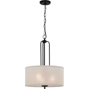 Blanche Matte Black Three-Light Pendant
