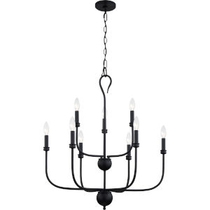 Blanche Matte Black Nine-Light Chandelier