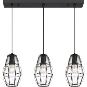 Blythe Earth Black Three-Light Island Chandelier with Transparent Glass