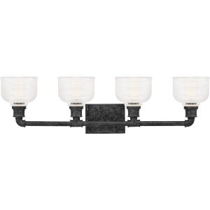 Boomer Old Black Finish Four-Light Bath Vanity with Transparent Prismatic Glass