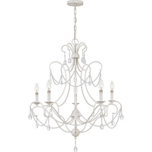 Bray Antique White Five-Light Chandelier
