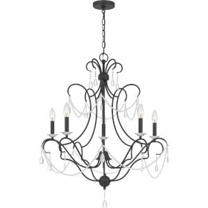 Bray Earth Black Five-Light Chandelier
