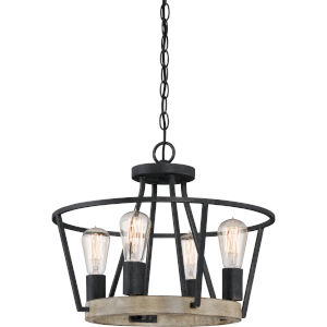 Brockton Grey Ash Four-Light Convertible Pendant