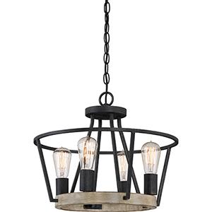 Brockton Grey Ash Four-Light Convertible Pendant